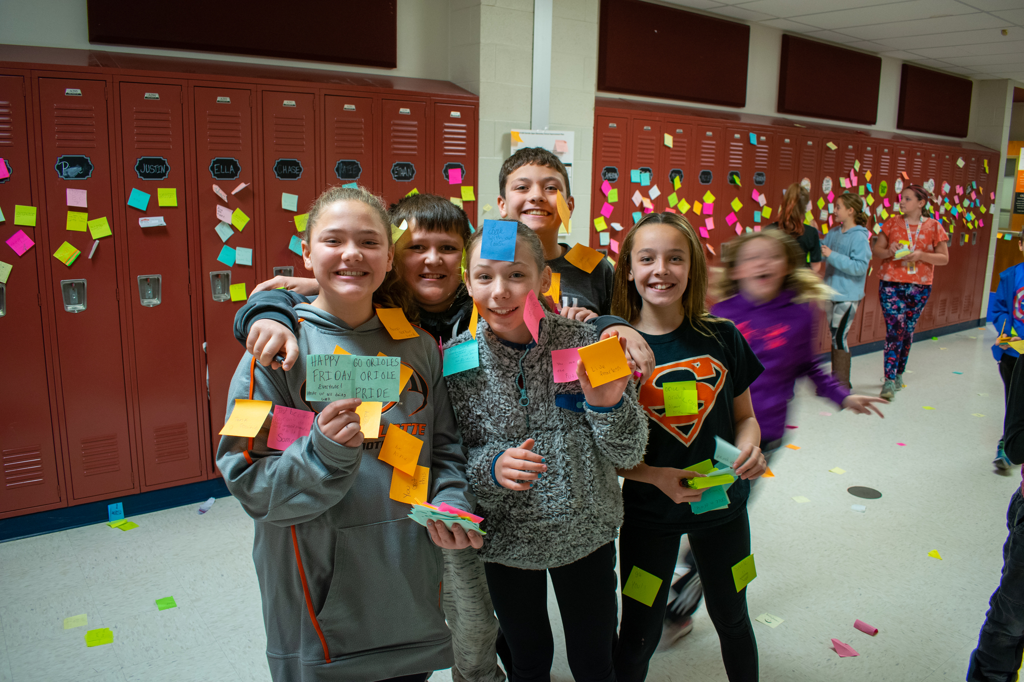Positive Post-it Day Group of Students