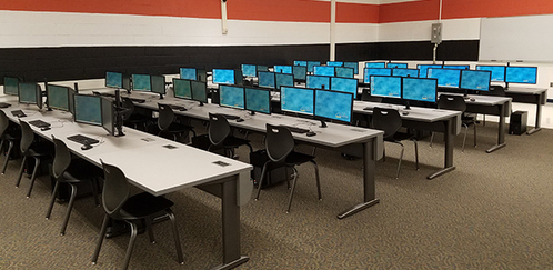 Photo of computers in High School STEM lab