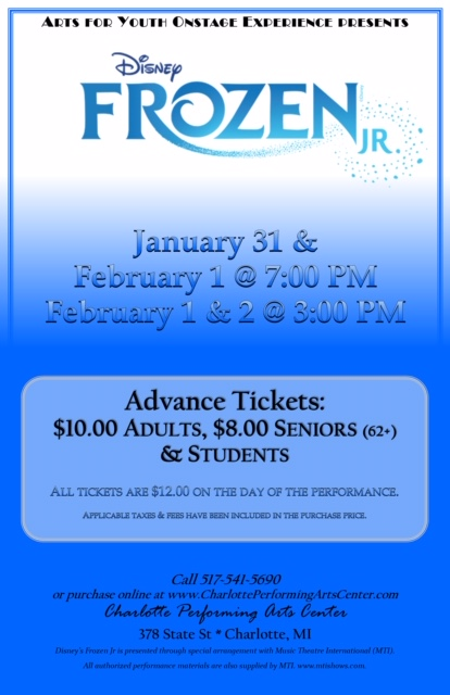 Frozen Jr presented by Arts for Youth January 31 - February 2